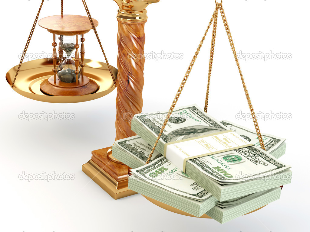 Time is money. Money and hourglass on scale.3d — Stock Photo #5056281