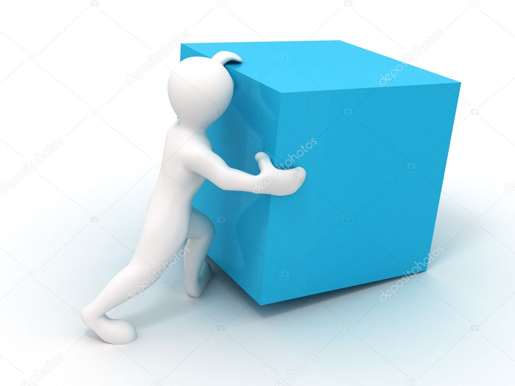 Men wiyh cube. 3d — Stock Photo #5056507