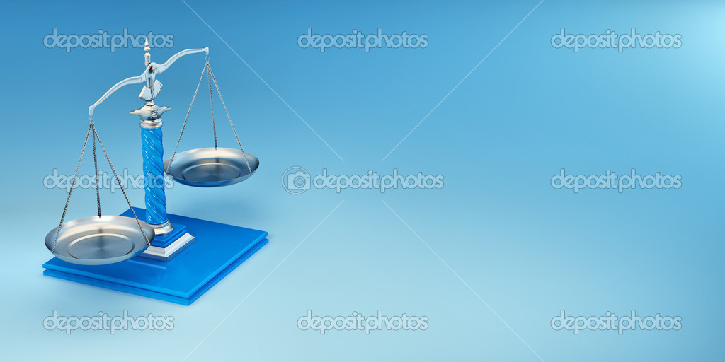 Scale on yellow background. Symbol of justice. 3d  Stock Photo #5058144