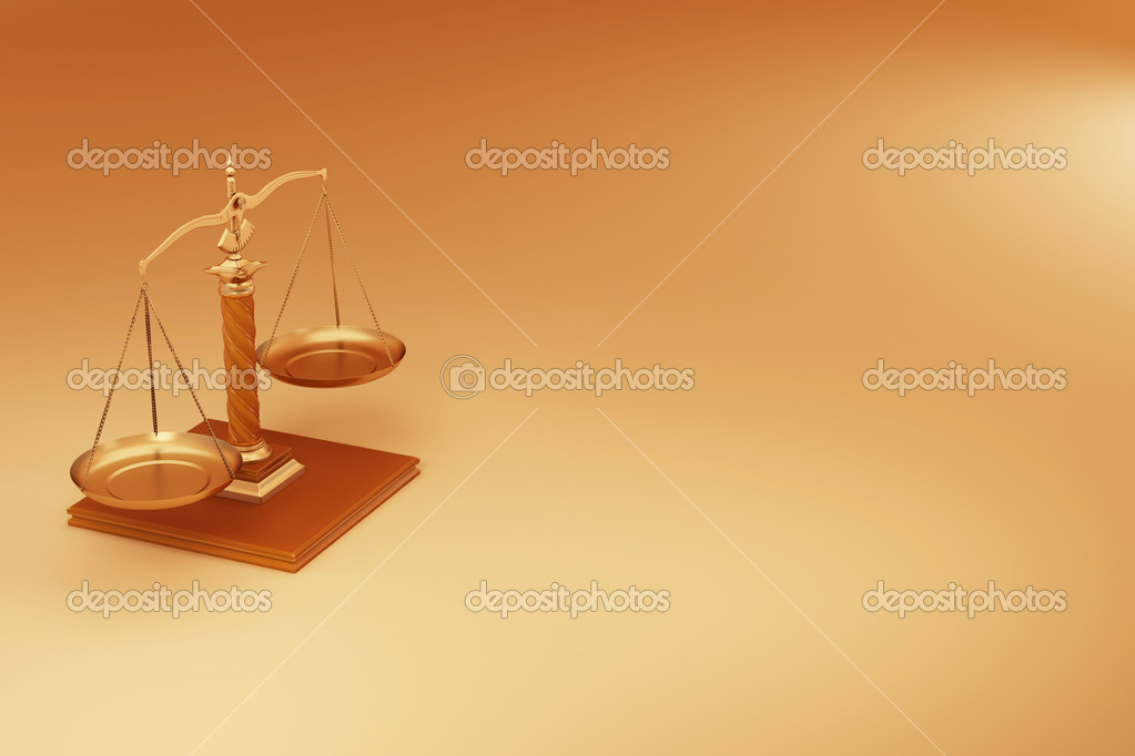 Scale on yellow background. Symbol of justice. 3d  Stock fotografie #5058337