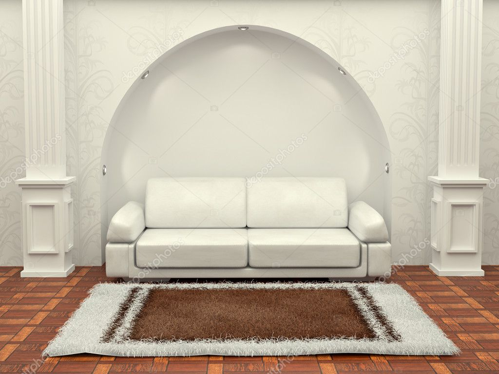 Inteiror. Sofa between the columns in white room. 3d — Stock Photo #5058934