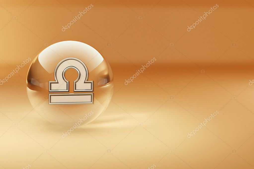 Libra. Astrological symbol on yellow background. 3d — Stock Photo #5058937
