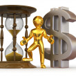 Man with hourglass and dollar — Stock Photo