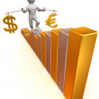 Man going to step schedule. Balance of dollar and euro — Stock Photo #5066963