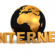 Stock Photo: Text INTERNETwith earth
