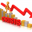 Man on diagram. Crisis - Stockfoto
