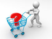 Consumer's basket with question — Stock Photo