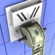 Dollar in the toilet paper - Stock Photo