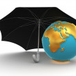 Earth with umbrella — Stock Photo