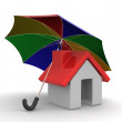 House and Umbrella — Stock Photo