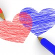 Pencils depicting the heart - Stock Photo