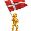 Men with flag. Denmark — Stock Photo