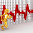 Running men on the background of the chart heartbeat - Stock Photo