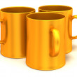 Three cups. 3d — Stock Photo
