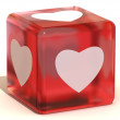 Cube with hearts. 3d — Stock Photo