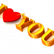 """Text """" I LOVE YOU"""" with Heart — Stock Photo"""