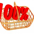 Consumer basket with 100 percent. - Stock Photo