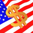 Sign of USD on American flag — Stock Photo