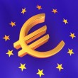 Sign of Euro on European flag — Stock Photo
