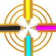Stock Photo: Target from pencils. CMYK