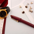 Memoranda with clock and pen. — Stock Photo #5082168
