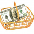 Стоковое фото: Consumer basket with dollar