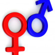 Stock Photo: Symbol Men and Women. Love. 3d