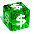 Cube with dollar — Stock Photo