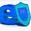 Shield with symbol for internet — Foto Stock