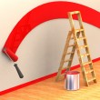Ladder, roller brush, bucket. Space for text — Stock Photo