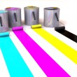 Stock Photo: Rollers brush and buckets of paint. 3d