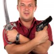 Men with gun and sabre - Stock Photo