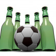 Bottles of beer and ball. 3d - 图库照片