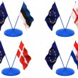 Flags. Euro, Estonia, England, Denmark, Croatia — Stock Photo