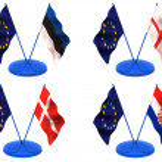 Flags. Euro, Estonia, England, Denmark, Croatia — Stock Photo