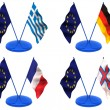 Flags. Euro, Greece, Germany, France, Farrery — Stock Photo