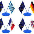Flags. Euro, Greece, Germany, France, Farrery — Stock Photo #5085342