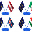 Flags. Euro, Latvia, Italy, Iceland, Hungary — Stock Photo