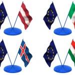 Flags. Euro, Latvia, Italy, Iceland, Hungary — Stock Photo