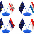 Flags. Euro, Northern Ireland,  Holland, Monaco, Montenegro - Stock Photo