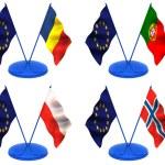 Flags. Euro, Portugal, Romania, Poland, Norway — Stock Photo