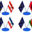 Flags. Euro, Austria, Albania, Wales, Yugoslavia — Stock Photo