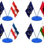Flags. Euro, Austria, Albania, Wales, Yugoslavia — Stock Photo