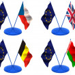 Flags. Euro, UK, Belorussia, Belgium, Czech — Stock Photo
