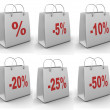 Shopping bag with percent - 图库照片