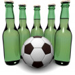Bottles of beer and ball - 图库照片