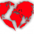 Earth in the form of heart — Stock Photo