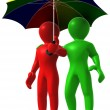 Two man with umbrella - Stock Photo