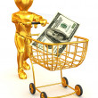 Stock Photo: Mwith Consumer basket and dollar