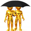 Two man with umbrella — Stock Photo